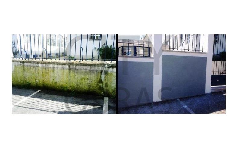 trabalho de recuperação de fachada de edifício